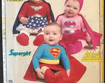 UNCUT Children's Toddler, Baby, Girls, Superhero Wonder Woman, Batgirl, Supergirl Halloween Costume Sewing Pattern Simplicity 8193