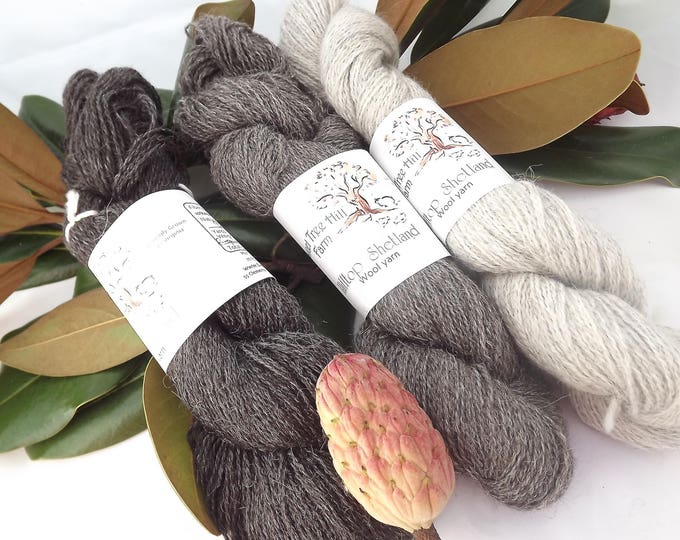 Featured listing image: Hilltop Shetland Natural Tones of Grey Collection in Fingering/Sock weight