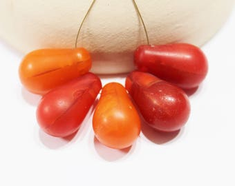 Orange African Trade Beads, Wedding Beads from Mali, Ethnic Jewelry Supplies (AP230)