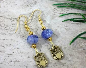 Owl Earrings Dangles, Cute Owl Earrings, Owl Earrings Gold, Owl Charm Earrings, Owl Jewelry, Owl Totem Animal, Spirit Animal, Birthday Gift