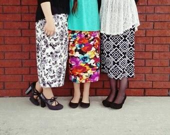 """Girls Modest Pencil Skirt """"Waffle"""" Textured Knit Collection ~ Modest Girls Skirt, Toddler Girls, Big Girl, Tween Girls, Teen ~ Made to order"""
