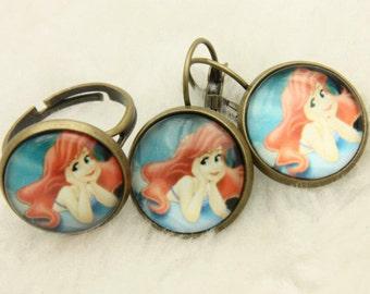 Little mermaid Ariel SET earrings and ring 1616