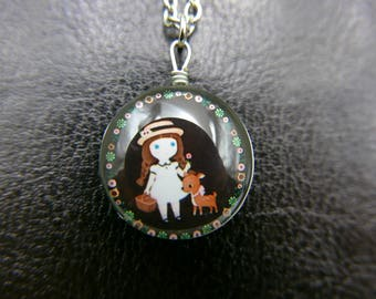 Little girl and doe Necklace jewelry Double sided cabochon