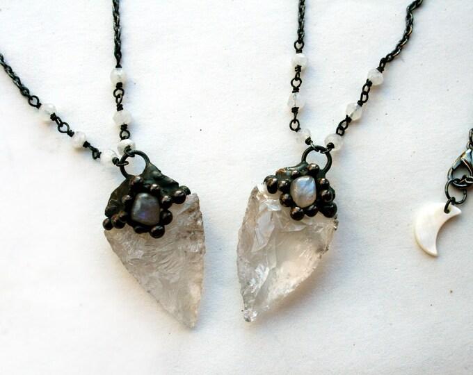 Clear Quartz Arrowhead with Rainbow Moonstone Necklace