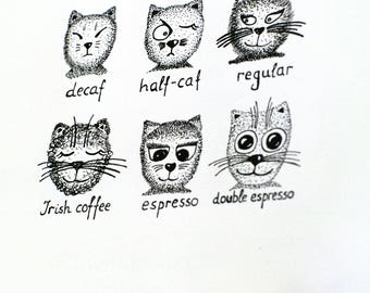 Coffee art Caffeinated cat chart Coffee chart Coffee menu - coffee shop coffee making - coffee painting espresso field guide - kitchen art