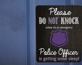 Do Not Ring Doorbell Magnet, Police Officer Sleeping Magnet, Front Door Magnet, Sleeping Policeman Sign, No Soliciting, No Solicitation Sign