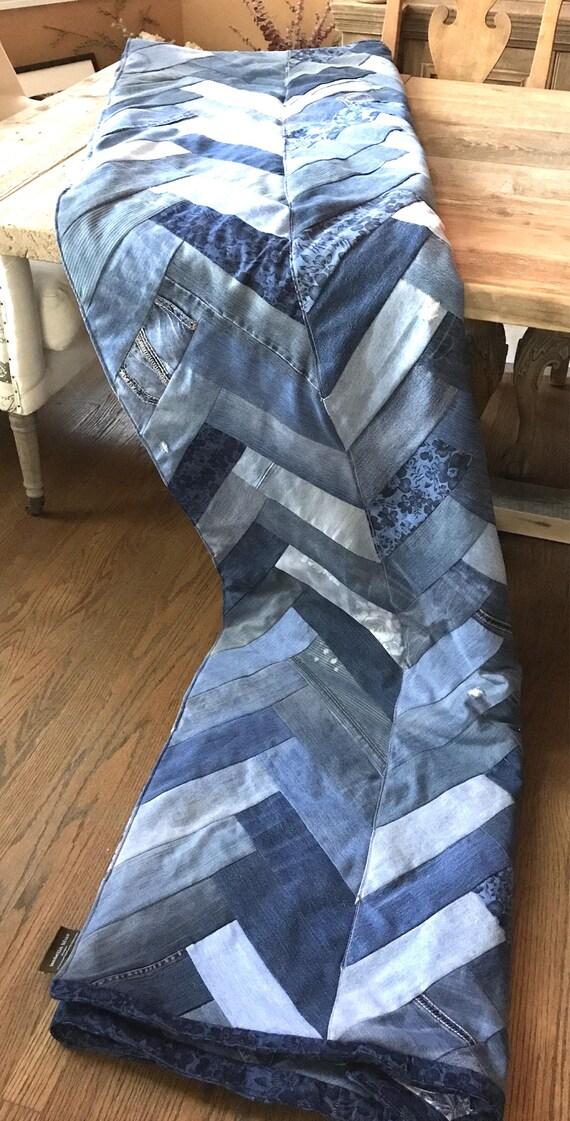 Recycled Denim Blanket, recycled Denim, Chevron, Herringbone, comforter, quilt, Denim Quilt, Denim Patched Quilt, Distressed Denim Blanket