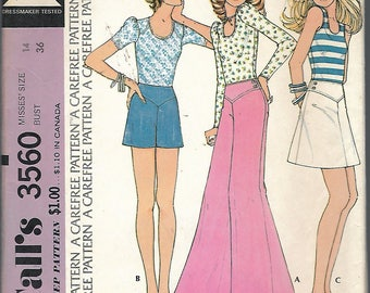 Vintage 1973 McCall's 3560 Retro Top, Pants or Shorts & Skirt Sewing Pattern Size 14 Bust 36""
