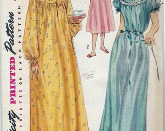 Vintage 1955 Simplicity 4140 Nightgown in Two Lengths Sewing Pattern Size 16 Bust 34""