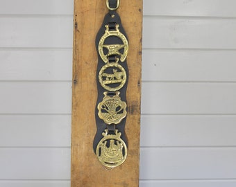 Vintage Horse Brass Strap with Four 4 Horse Brasses,