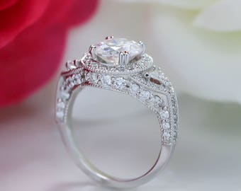 2 Carat Forever One Moissanite Center Diamond Engagement Ring Setting - Lauren