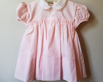 Vintage Girls Pink Dress with White Peter Pan Collar Trimmed in Lace- Size 12 months- New, never worn