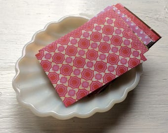 Gift Card Envelopes- Pink Patterned Envelopes -Mini Envelopes - coin envelopes -  pack of 10