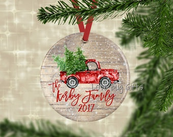 Vintage truck with trees • Personalized • Christmas Ornament • Red truck • Christmas trees