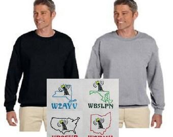 HAM RADIO SWEATSHIRT - Embroidered Sweatshirt with Callsign & Design of Your Choice - Unisex Sizes  E22
