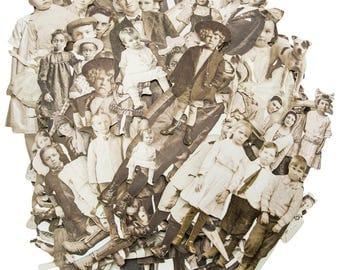 EPHEMERA PACK, Vintage Photo Die Cuts, Paper Dolls Ephemera, Tim Holtz Ephemera, Ideology Ephemera, Vintage People, Black White Die Cuts