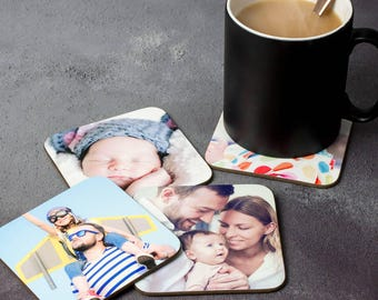 Personalised Photo Coasters Set Of Four - Homeware Tableware Drink Tea Coffee Mat Families