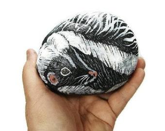 Skunk painted rock, hand painted rocks, black, white, wildlife, country