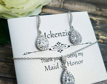 Bridesmaid Jewelry Set, Simple Bridal Jewelry Set, Bridesmaid Earrings, Bridal Earrings, Bridesmaid Jewelry, Bridesmaid Gift, Bridal Jewelry