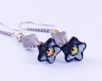 Montana Blue Sterling Silver Dangle Earrings, Silver Earrings, Montana Blue, Czech Glass Earrings