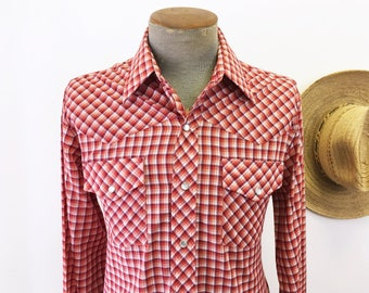 1970s Vintage JCPenney Red Plaid Western Shirt Men's Cowboy Style Long Sleeve Pearl Snap Shirt by JCPenney - Size MEDIUM
