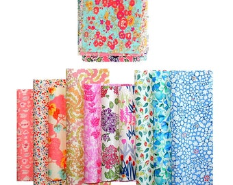 "Liberty Fabric 6"" x 5"" + 3"" x 3"" Scrap Pack Bundle Patchwork Quilting Pastel Muted Pale Floral Squares Oblongs Liberty of London Tana Lawn"