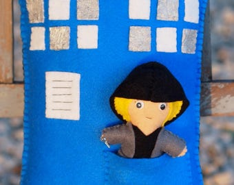 Doctor Who TARDIS Inspired Felt Throw Pillow with Doctor