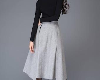 Skirt, midi skirt, vintage skirt, wrap skirt, wool skirt, wool skirt pleats, grey skirt, winter skirt, womens skirts, office skirt  C1020