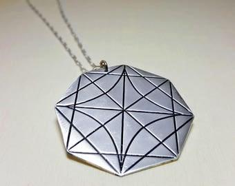Long Geometric Pendant, Long Pendant Necklaces for Women, Geometric Charm Necklace, Extra Long Necklace, Long Geometric Necklace