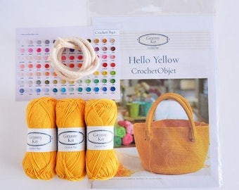 Hello Yellow kit, including a printed pattern, 3 cotton balls and a cotton rope, DIY kit ready to ship by CrochetObjet