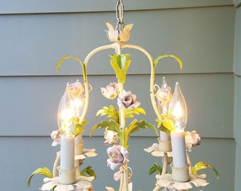 Vintage French Tole Chandelier With Porcelain Flowers