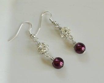 Purple Pearl Earrings, Women's Earrings, Purple Dangle Earrings, Rhinestone Earrings