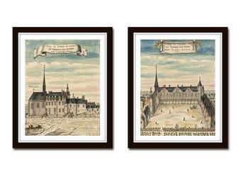 French Chateau Print Set No.1, French Architecture Prints, Giclee, Art Print, French Style Decor, Wall Art, Print Set