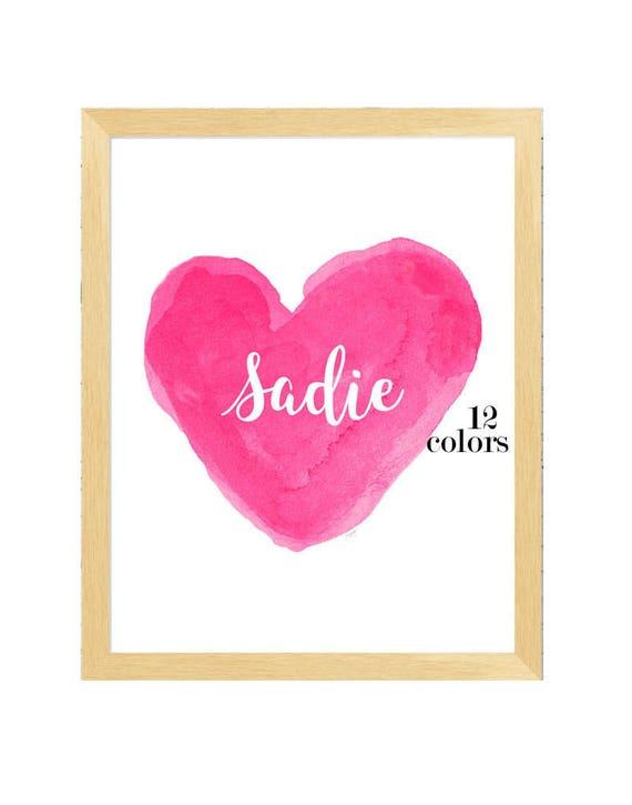 Hot Pink Girls Name Print, 11x14
