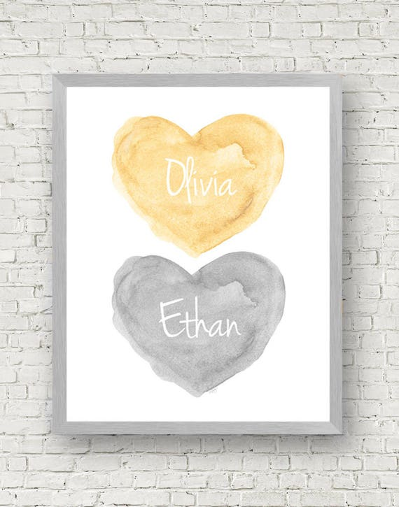 Boy Girl Print in Yellow and Gray, 11x14 Personalized