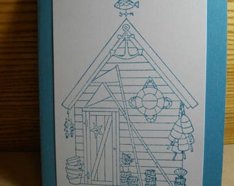 Beach Cabin (hand-stamped) 8-Card Box (over 20 colors available)