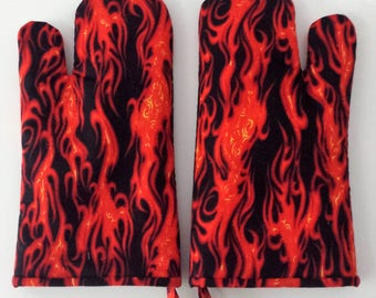 Oven Mitt, Harley Davidson, Red Flames Oven Mitt, Kitchen Hot Pad, Cook, Bake, Chef, Kitchenware, Cookware, Barbeque, Potholder