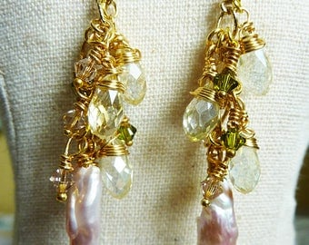 Pale Pink Long Wire Wrapped Biwa Pearl Cluster Earrings With White AB Crystal Teardrops and Olive and Clear Swarovski Crystals