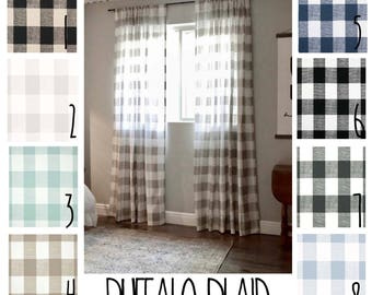 Plaid Curtains - Buffalo Plaid - FREE SHIPPING - 2 Curtain Panels - Nursery Curtains - Home Decor - Farmhouse Curtains - Gingham Curtains