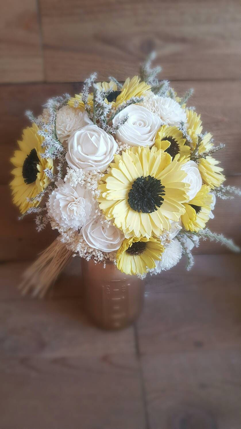 Custom Large Sola Wood Flower Bouquet Yellow Sunflower And