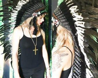 Vintage Native American Beaded Black Turkey Feather Headdress
