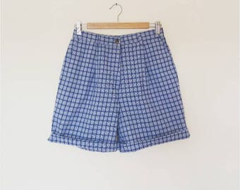 Blue Plaid High Waisted Shorts Vintage Women's Retro Gingham Navy Blue and White Summer Mom Shorts Cut Offs Vintage Check