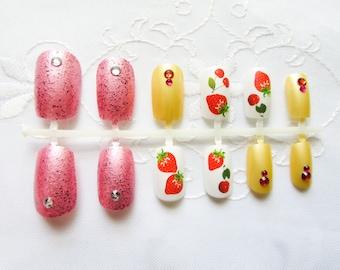24 Summer Berry Fake Nails / Press on Nails / False Nails / Acrylic Nails / Kawaii / Cute / Strawberry / Cherry / Nails