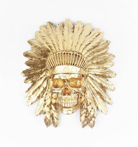 Skull Wall Decor Phantom Indian Gold