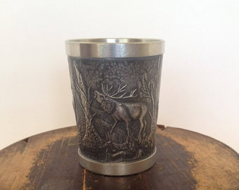 Vintage Pewter Cup, Raised Relief, Beautiful Craftsmanship,Stag and Doe, Elk, Germany, Barware