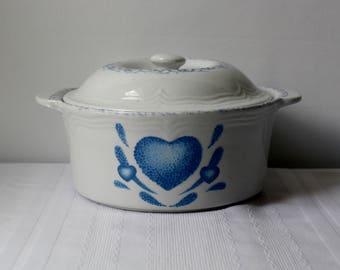 Vintage Blue Heart Casserole Dish Cookware Serving Country Farmhouse Vintage Heart Dish Retro Chic Decor