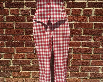 Vintage Panhandle Slim 70s Western Suit // Vtg Cowgirl Red White Checker // Vest and High Waist Pants XS S