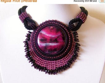 15% SALE Statement Beadwork Bead Embroidery Pendant Necklace with Agate  - NIGHT on the TOWN - purple, pink and black necklace - beadwork pe