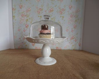 Cake stand with Lid / Ceramic dessert stand / White dessert stand and lid / Cupcake stand / Small cake stand / Cake Stand with dome