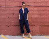 Vintage 80s Unisex Navy Blue Work Coverall Jumpsuit